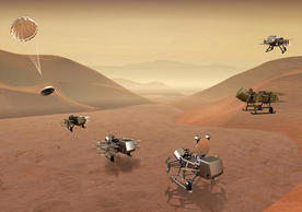 Dragonfly mission concept image of entry, descent, landing, surface operations, and flight on Titan. (Credit: Johns Hopkins APL)